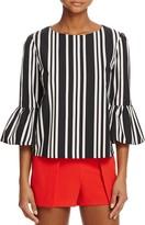 Alice + Olivia Bernice Striped Ruffle-Sleeve Top