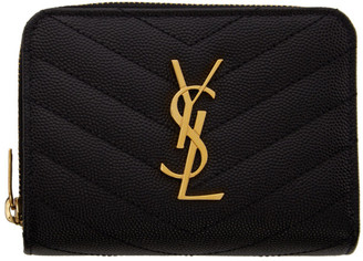 Saint Laurent Black Small Compact Monogramme Wallet