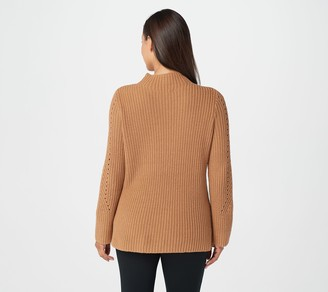 Lisa Rinna Collection Cable Knit Long-Sleeve Sweater