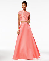 City Studios Juniors' 2-Pc. Mock-Neck Gown, A Macy's Exclusive Style