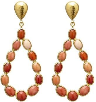 Gurhan 24kt gold Pointelle Coral chandelier earrings