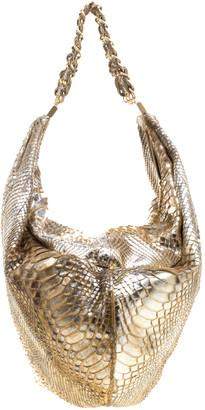 Chanel Metallic Gold Python Rock and Chain Hobo