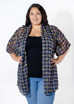 Sealed With A Kiss Sealed w/ A Kiss Catalina Chiffon Cardigan Sweater in Navy Blue Size 1X
