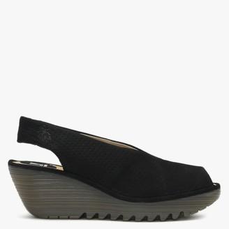 Fly London Yazu Black Leather Perforated Sling Back Wedge Sandals