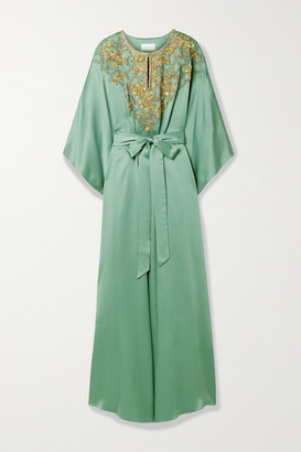 Marchesa Belted Embellished Satin Gown - Gray green