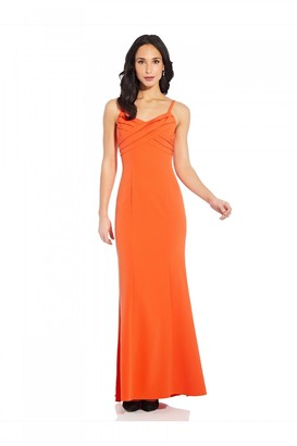 Adrianna Papell Pleated Mermaid Gown In Neon Tangerine