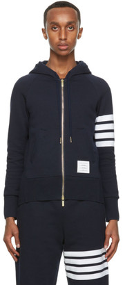 Thom Browne Navy Engineered 4-Bar Classic Full-Zip Hoodie