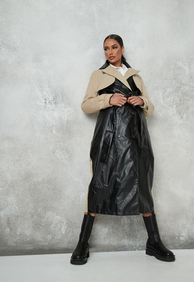 Missguided Camel Faux Leather Contrast Trench Coat
