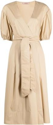 Twin-Set Belted Poplin Midi Dress