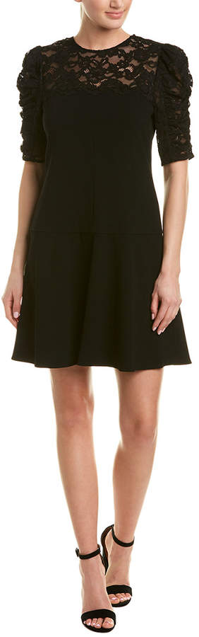 Rebecca Taylor Lace-Paneled Silk-Trim Shift Dress