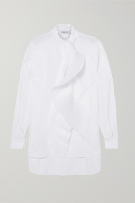 Givenchy Pleated Tie-neck Cotton-poplin Shirt - White