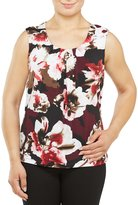 Allison Daley Petites Scoop Neck Sleeveless Pleat Front Detail Knit Top