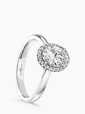 Brown & Newirth Platinum Oval Diamond Engagement Ring, 0.28ct