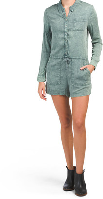 Heirloom Woven Long Sleeve Snap Front Collared Romper