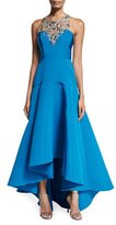 Marchesa Sleeveless Embellished High-Low Gown, Peacock