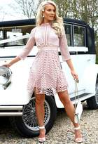 Pink Boutique Lyra Blush Pink High Neck Long Sleeved Crochet Dress