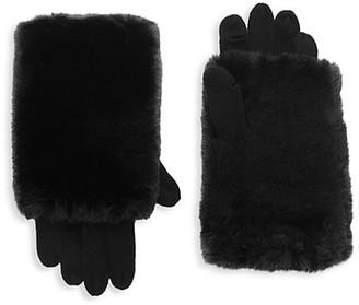 Carolina Amato Touch Tech Knit & Faux Fur Gloves