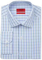 Alfani RED Men's Fitted Performance Blue Triple Check Dress Shirt, Only at Macy's