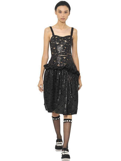 Simone Rocha Wet Effect Lace Frilled Dress