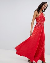 Asos Design DESIGN Lace Top Pleated Maxi Dress