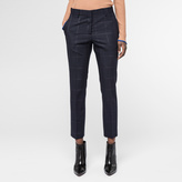 Paul Smith Women's Slim-Fit Navy Tonal-Check Wool Trousers