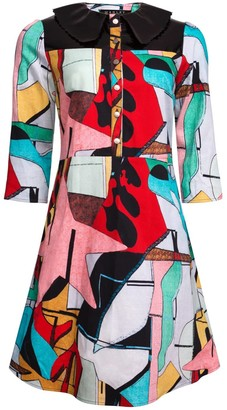 Manley Mia Print Dress With Patent Leather Collar