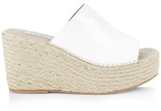STEVEN NEW YORK Croc-Embossed Espadrille Wedge Sandals