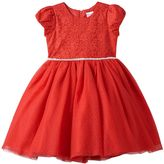 Nannette Girls 4-6x Floral Lace Dotted Glitter Tulle Dress