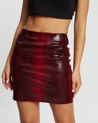 Missguided Textured Shiny Snake Print Mini Skirt