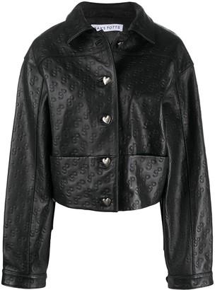 Saks Potts Leather Logo Embossed Jacket