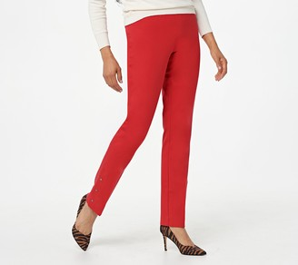 Isaac Mizrahi Live! Regular 24/7 Stretch Pants with Snap Hem