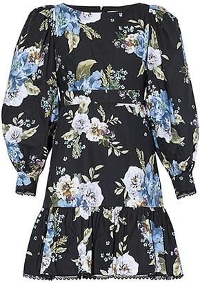 Erdem Floral Boatneck Long Sleeve Flounce Dress