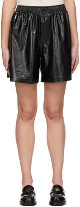 we11done Black Latex-Textured Shorts