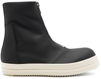 Rick Owens Zip-front High-top Rubber Trainers - Black White