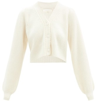 LoveShackFancy Avignon Cropped Ribbed Wool-blend Cardigan - Cream