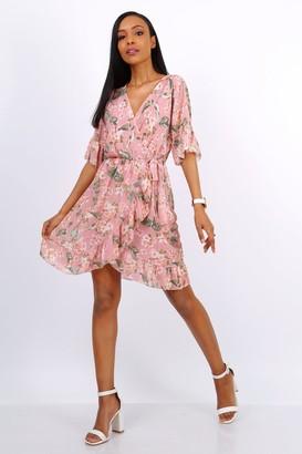 Lilura London Summer Mini Wrap Dress With Frill Hem In Pink Floral Print