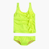 J.Crew Girls' ruffle tankini set in neon