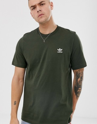 adidas essentials T-Shirt with logo embroidery in khaki-Green