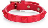 Valentino Studded Leather Bracelet/Red