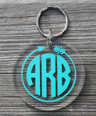 clear Say It Sassy Key Chains Teal Arrow Monogram Key Chain