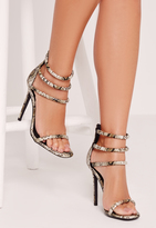 Missguided Rounded 4 Strap Barely There Sandal Snake Print