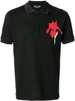Alexander McQueen floral patch polo shirt