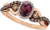 LeVian Le Vian Chocolatier 14K Rose Gold 1.10 Ct. Tw. White & Brown Diamond & Rhodolite Ring