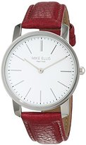 Mike Ellis New York Women's Quartz Watch with White Dial Analogue Display and Imitation Leather Dark Pink- SL4527A10