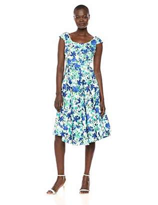 Calvin Klein Women's Cap Sleeve Midi Dress with Asymmetric Hem