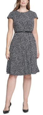 Jessica Howard Plus Size Polka-Dot Belted Dress
