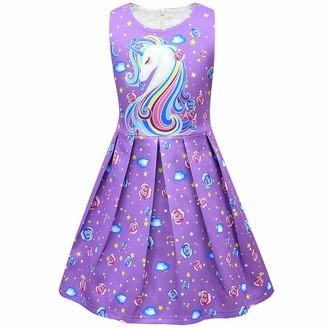 Thombase Kids Girls Princess Ride On The Unicorn Long Sleeve Xmas Christmas Nightgown Nightdress Dress (Purple 4-5 Years)