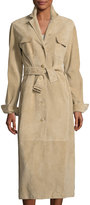 The Row Zoe Perforated Suede Trenchcoat