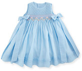 Luli & Me Sleeveless Floral-Trim Smocked Dress w/ Bows, Blue, Size 12-24 Months