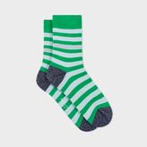 Paul Smith Women's Green And Sky Blue Stripe Socks